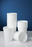 Disposable cups. Group of white disposable plastic cups Stock Photo