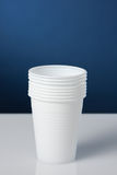 Disposable cups. Group of white disposable plastic cups Royalty Free Stock Photography
