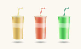 Disposable cups for beverages with straw Stock Image