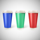 Disposable cups for coffee, closeup with Stock Photography