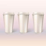 Disposable cups for coffee, closeup. Royalty Free Stock Photo