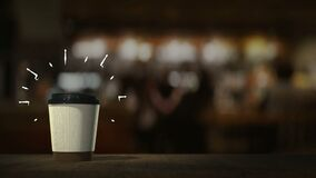 Disposable cups with coffee and cocktails appear in an infinite loop, bar counter table stand. With motion graphics