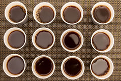 Disposable cups with coffee Royalty Free Stock Images