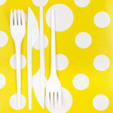Disposable cutlery set Stock Images
