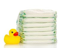 Disposable diapers and the rubber duckling Stock Photos