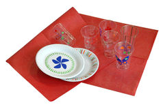 Disposable dishes and napkin Stock Image