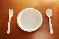 Disposable dishware table setting Stock Photos