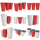 Disposable drink cups. Red paper mug Stock Photos
