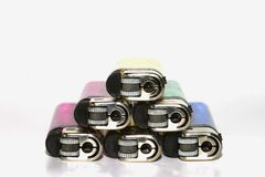 Disposable Lighters. A stack of disposable cigarette lighters Royalty Free Stock Images
