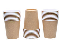 Disposable paper cup. Stack of disposable paper cup isolated on white background Stock Photography