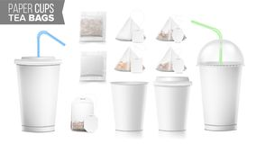 Disposable Paper Cups And Tea Bags Set Vector. Plastic Covers. Take-out Soft Drinks Cup Template. Open And Closed Paper Stock Image