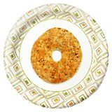 Disposable Paper Plate with Everything Flat Bagel Over White Royalty Free Stock Photography