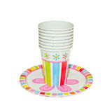 Disposable Party dishware. Cups and Plates royalty free stock photography