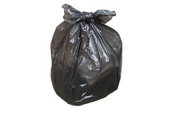 Disposable plastic bag full of garbage isolated Stock Images