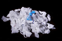 Disposable plastic bags. Disposable plastic bags in black background Royalty Free Stock Image