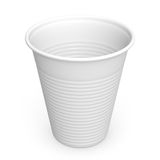 Disposable Plastic Cup. Close-up of a white plastic cup on white background with clipping path. 3D render Stock Image
