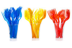 Disposable plastic forks Stock Photos