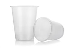 Disposable plastic glasses royalty free stock photography