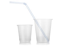 Disposable plastic glasses Royalty Free Stock Photos
