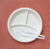 Empty plastic plate. Royalty Free Stock Photo