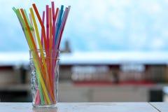 Disposable plastic straws stock photo