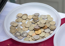 Disposable plate with russian coins. Close up stock image