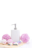 Disposable razors, soap and flowers Stock Photography