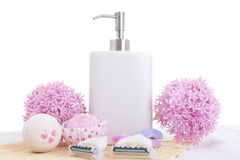 Disposable razors, soap and flowers Royalty Free Stock Image