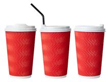 Disposable red paper coffee cup, paper cup with drinking straw royalty free stock photos