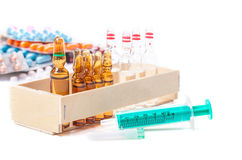 Disposable syringe, ampoules, vaccine, tablets Stock Photo