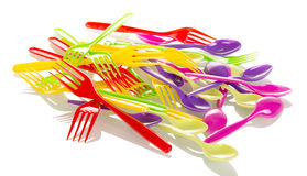 Disposable tableware, colorful fork isolated on white Stock Photography