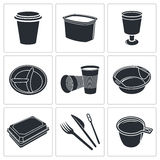 Disposable tableware icon collection Stock Photos