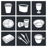 Disposable tableware Icons. Tableware icon collection on a black background vector illustration