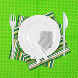 Disposable tableware set Stock Image