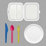 Disposable Tableware Transparent Set. Disposable white plastic plate lunchbox and colorful cutlery top view realistic tableware set transparent background vector stock illustration