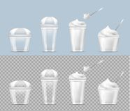 Disposable transparent plastic cup with ice cream and silver spoon stock illustration