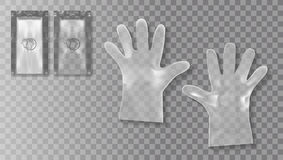 Disposable Transparent Plastic Gloves With Packing For Medical Use Or Cosmetics Purpose. EPS10 Vector royalty free illustration