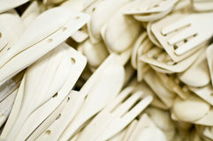 Disposable utensils. A collection of different kinds of disposable silverware or eating utensils Stock Image