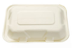 Disposable White Hard Paper Takeaway Box Stock Image