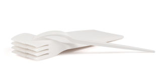 Disposable white plastic forks isolated Royalty Free Stock Photography