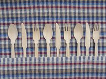 Disposable wooden fork,spoon,knife stock image
