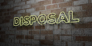 DISPOSAL - Glowing Neon Sign on stonework wall - 3D rendered royalty free stock illustration Stock Photography