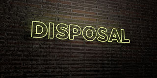 DISPOSAL -Realistic Neon Sign on Brick Wall background - 3D rendered royalty free stock image Stock Photo