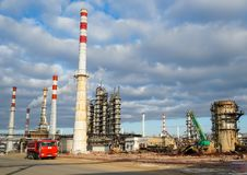 Disposal of the technological installation for the manufacture of light oil products at a refinery in Russia stock photography