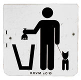 Dispose Pet Waste Sign. Sign showing a stick figure properly disposing pet waste Stock Photography