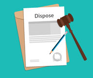 Dispose text on stamped paperwork illustration with judge hammer and folder document with green background. Vector Stock Photos
