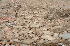 Disposed bricks from destroyed building Royalty Free Stock Image