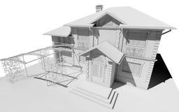 Disposição branca da casa de campo com uma vertente ilustração stock