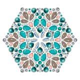 Disposição criativa da joia A mandala é feita de pedras preciosas diferentes no branco Fotos de Stock Royalty Free