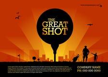 Disposição da bola de golfe, anúncios do GOLFE imagens de stock royalty free
